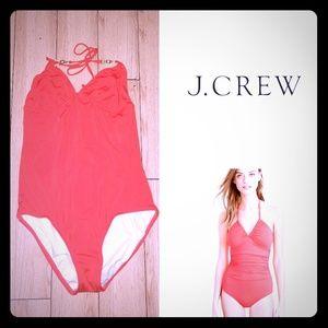 J. Crew Ruched Halter One-piece Swimsuit